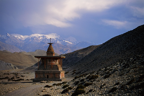 Sumda Chorten and Mountains, Entrance to Tsarang by Kenneth Parker