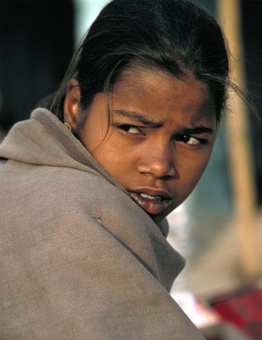 Girl and Shawl, India by Lisa Kristine