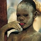 Dinka Boy Touching Tongue, South Sudan