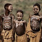 Surma children with body paint, Ethiopia