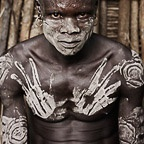 Mursi Warrior with Handprints