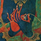 Hands of a Blue Bodhisattva  in Teaching Mudra (detail), Thupchen Gonpa, Lo Montang