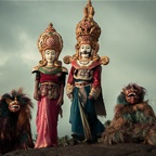 King, Queen and Two Dog Masks, South Sri Lanka